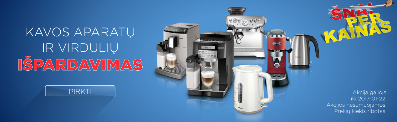 Kavos aparatų ir virdulių išpardavimas!