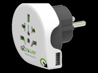 Perėjimas Q2Power universalus į EU 10A, 1xUSB, baltas / GT-904