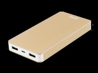 Išorinė baterija DELTACO PRIME 10000mAh, 2.1A, 2xUSB, 5V, auksinė / PB-828