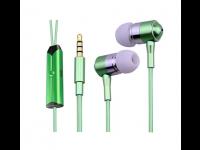 Ausinės YAKKA į ausis, su mikrofonu, šviečiančios, žalios