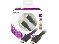 Kabelis DELTACO HDMI-HDMI plokščias, 3.0m, juodas / HDMI-1030F-K
