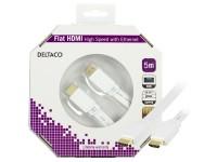 Kabelis DELTACO HDMI-HDMI plokščias, 5.0m, baltas / HDMI-1050H-K