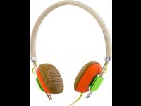 Ausinės STREETZ HL-263, ant ausų, su mikrofonu, rudos/oranžinės
