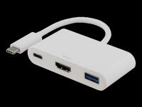 """Adapteris DELTACO USB """"C"""" - HDMI, USB-C, USB A, baltas / USBC-1171"""