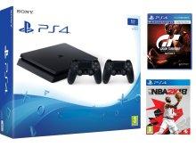 Žaidimų kompiuteris Sony Playstation 4 (PS4) Slim 1TB + 2 pultai + Gran Turismo + NBA 2k18