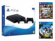 Žaidimų kompiuteris SONY PS4 1TB + valdymo pultas + GTA V, Horizon Zero Dawn