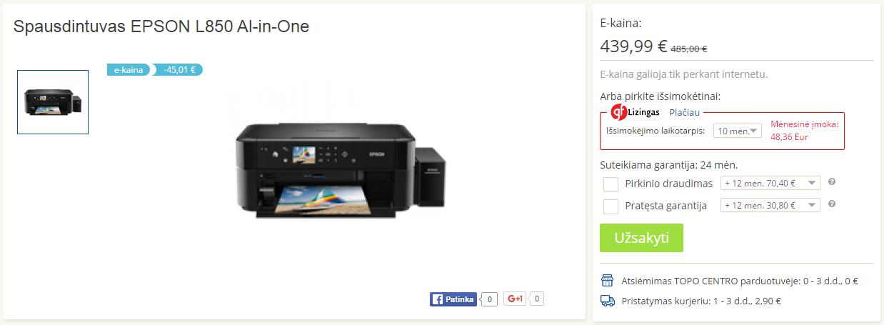 spausdintuvas Epson